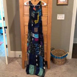 Patchwork overall dress
